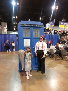The Doctor and a Weeping Angel next to the TARDIS