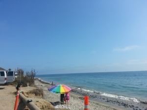 View of the bright blue ocean.