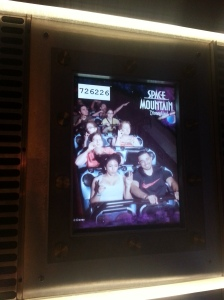 All of us on Space Mountain, pretending to drink tea.