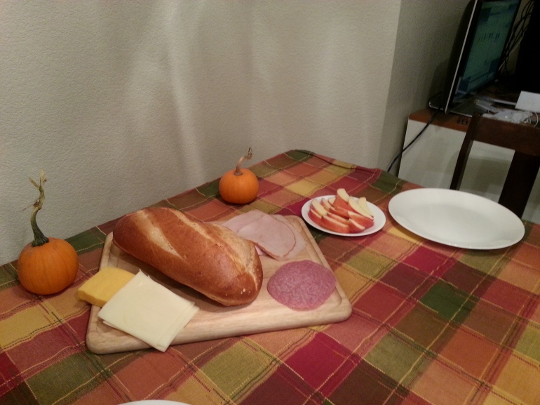 Picture of part of my dinner tonight. Grown-up picnic!
