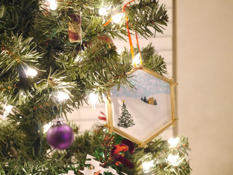 One of my favorite ornaments: a painting that Lydia did.