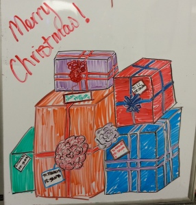 Presents on the white board at work! Mine is the red one.